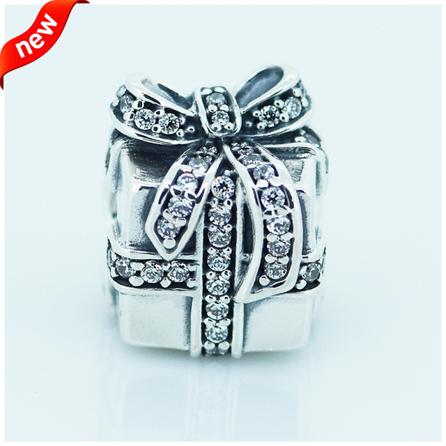 Fits for Pandora Bracelets Sparkling Surprise Charms with Clear Cubic Zirconia 100% 925 Sterling Silver Beads Free Shipping