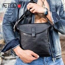 AETOO New men's bag shoulder Messenger bag leather messenger small bag first layer cowhide bag male tide цена и фото