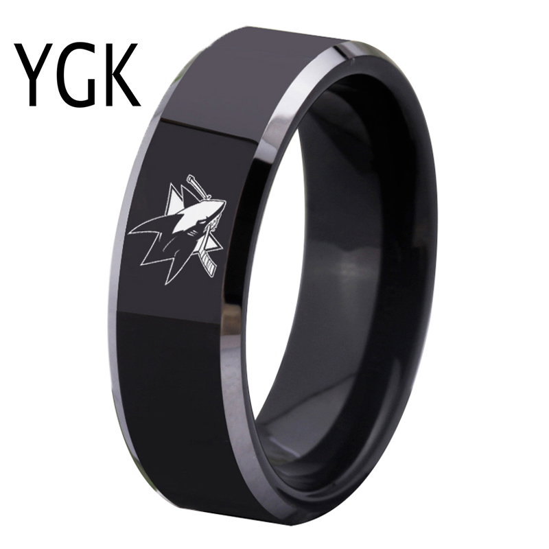 YGK Brand 8MM Width Black With Shiny Edges San Jose Sharks Design Good Mens Tungsten Carbide Ring for Wedding Promise Ring