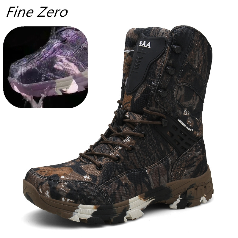 High Top Waterproof Hiking Shoes Tactical Sport Men's Shoes Male Outdoor Mountain Climbing Shoes Hunting Boots Men Army Boots image