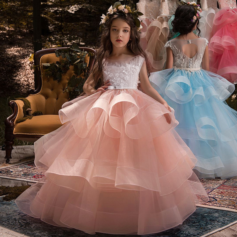 2019 Tulle Lace Infant Toddler Pageant White   Flower     Girl     Dresses   for Weddings and Party First Communion   Dresses   For   Girls