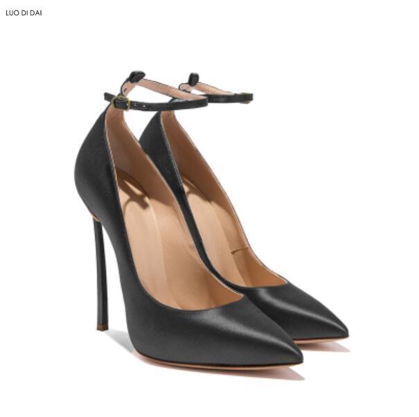 Pompes Dames or Toe Robe Or rouge Mince Mariage Chaussures Talon De À Noir Partie Sangle Talons Hauts Cheville 2018 Nouveau Point Femmes w6qU8