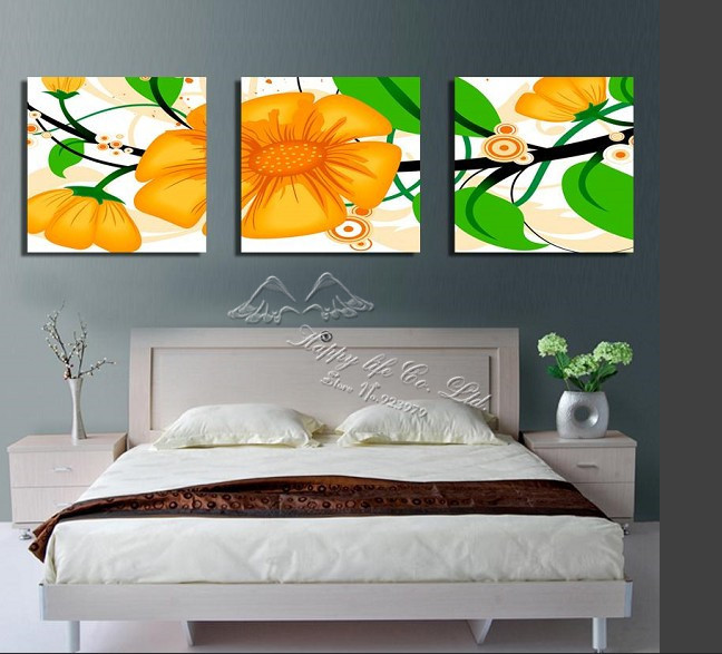3 Panel Modern Wall Painting Wall Panel Flower Decoration Home Modern Picture Household Items Bedroom First