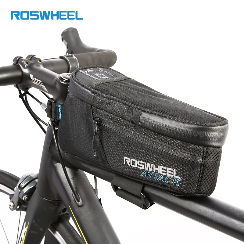 Waterproof Bicycle Bag Bike Front Beam Top Tube Bag Storage Cycling Storage Bag ROSWHEEL ATTACK coolchange waterproof bike bag frame front head top tube cycling bag double ipouch 6 2 inch touch screen bicycle bag accessories