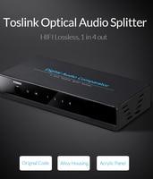 Unnlink SPDIF TOSLINK Digital Optical Audio Splitter 1x4 Switch Switcher Splitter 1 In 4 Out Video