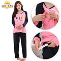 Plus Big Size  Cotton Maternity Sleepwear For Pregnant Women Pajamas Nursing Breast Feeding Nightgown Clothes For Long Sleeve