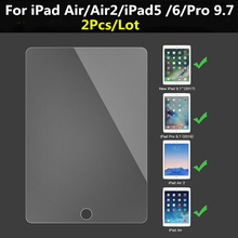 2pcs/lot 9H Screen Protector For Apple iPad Air 2 Air1 Tempered Glass 2017 5 6 Pro 9.7 Film