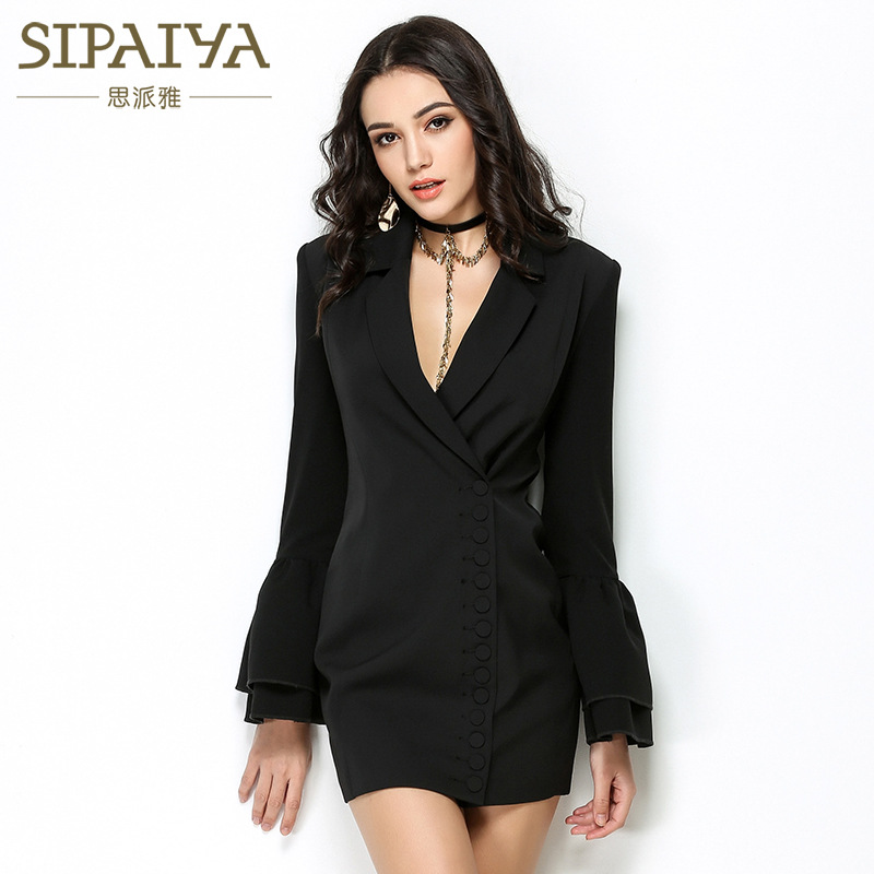 New  Fast selling,  spring and autumn dress  style, small suit coat women feel horn sleeves dress dress fashion nova bathing suits