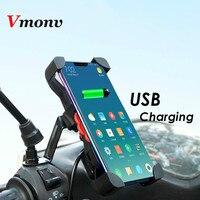 360 Rotação Titular do Telefone Celular Motocicleta Handerbar Com USB Carregador De Smartphones Retrovisor Suporte de Montagem Para iPhone 7 8 X Samsung