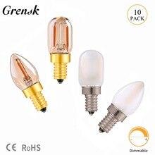 Grensk Янтарное матовое стекло C7 T22 Edison светодиодный Ночная лампочка накаливания 0,5 Вт 1 Вт теплый белый трубчатый холодильник лампа E14 220 В с регулируемой яркостью