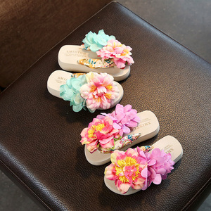 Image 4 - XMISTUO Family fitted child slippers seaside holiday tide baby flip flops shoes slip handmade flower beach Parent child shoes