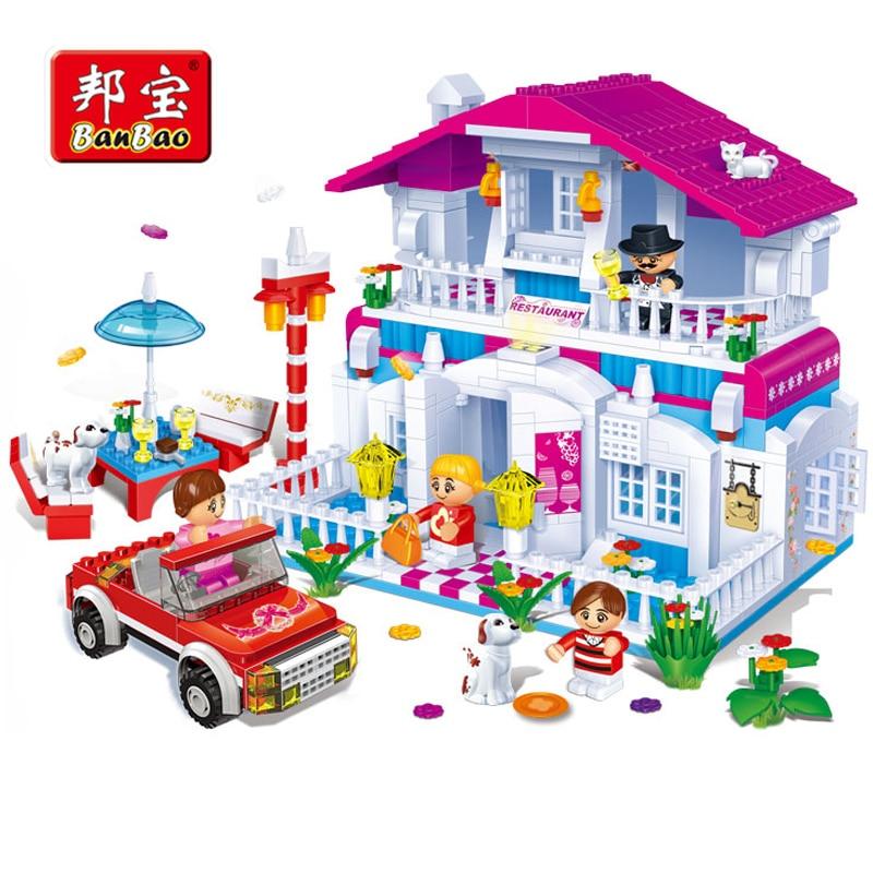 BanBao Happy Restaurant Building Blocks Bricks Educational Toy Model Children Girls Friend Kids 6103 Compatible With legoe цена