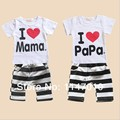 free shipping summer family clothing set kids cotton set with i love mama i love papa baby clothing set for girls and boys