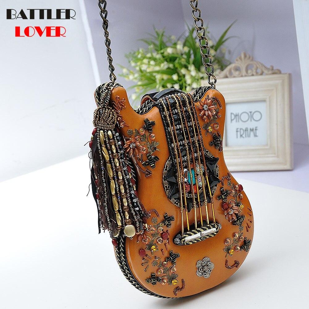 red Femmes Femme La Bandoulière This Main Modélisation Guitare Paquet Nouveau 100 Chaîne À Choose black Épaule Diagonale Sac Pcs Rétro Brown Perlé 2018 P6xUq