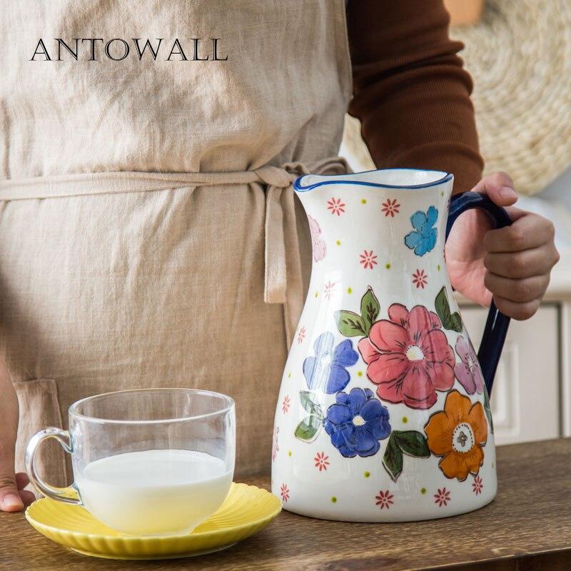 ANTOWALL 2L ménage bouteille d'eau en céramique haute température grande capacité bouilloire pastorale salon fleur vase décoration