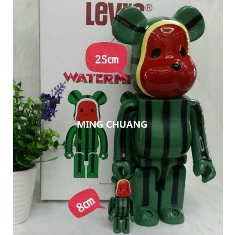 2Pcs/Set11 Inches Be@rbrick 400% Bearbrick Watermelon Strawberry Gloomy PVC Action Figure Collectible Model Toy D187 400% be rbrick 11 inch bearbrick lucy pvc action figure medicom toy figure toy brinquedos anime