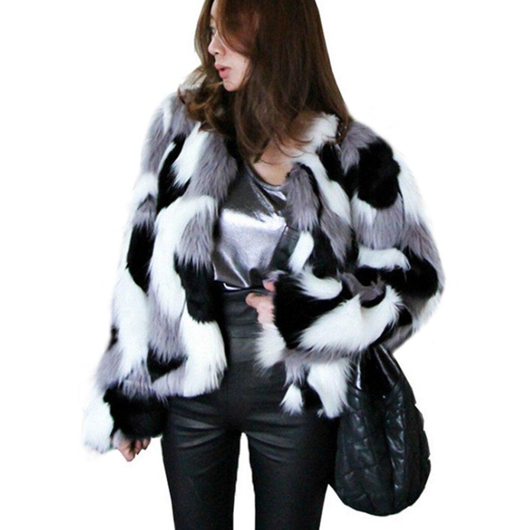 2018 Winter Frauen Gemischt Farbe Shaggy Faxu Pelz Jacke Casual Plus Größe Weibliche Öffnen Stich Pelz Outwear Casaco De Pele Falso Clear-Cut-Textur