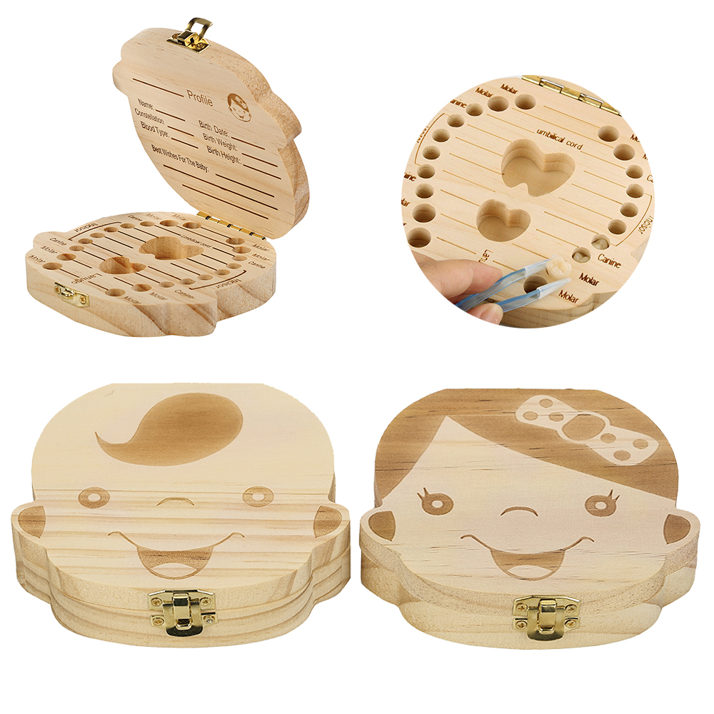 NEW Arrival Wood Storage Box For Baby Kids Tooth Box Organizer Storage Box For Baby Milk Teeth Collect Organizador Case