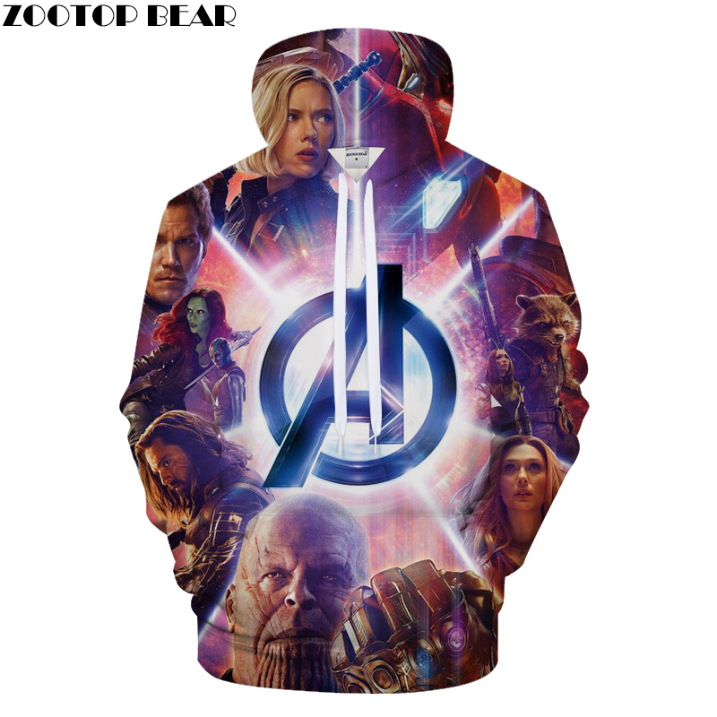 Europe and America Casual Loose 3D Print Men's Hoodie, Avenger Union Print Hooded Sweatshirt Asian size s-6xl Hip-hop sportswear