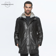 ANDREW MARC 2016 New Style Leather Men Jacket Coat 100% Sheepskin Plus Size for Slim Gentleman Genuine Leather OvercoatTM6A2112