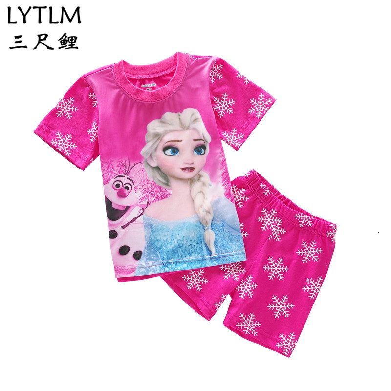 LYTLM Elsa Costume for Girls Kids Boys Clothes Sets Summer Boy Sports Suit T-shirts and Shorts Set Princess Children Clothing