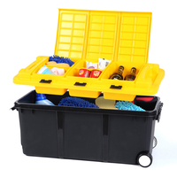 Autofans 75L Plastic Auto Trunk Storage Box Independent Cabinet Boot Organizer Wheel Car Trunk Container Boot Trolley Box S11