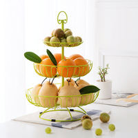 European style three layer fruit basket Containers Candy Dry Fruit Melon Seeds Dinner Plates Tray Tableware Storage Shelf