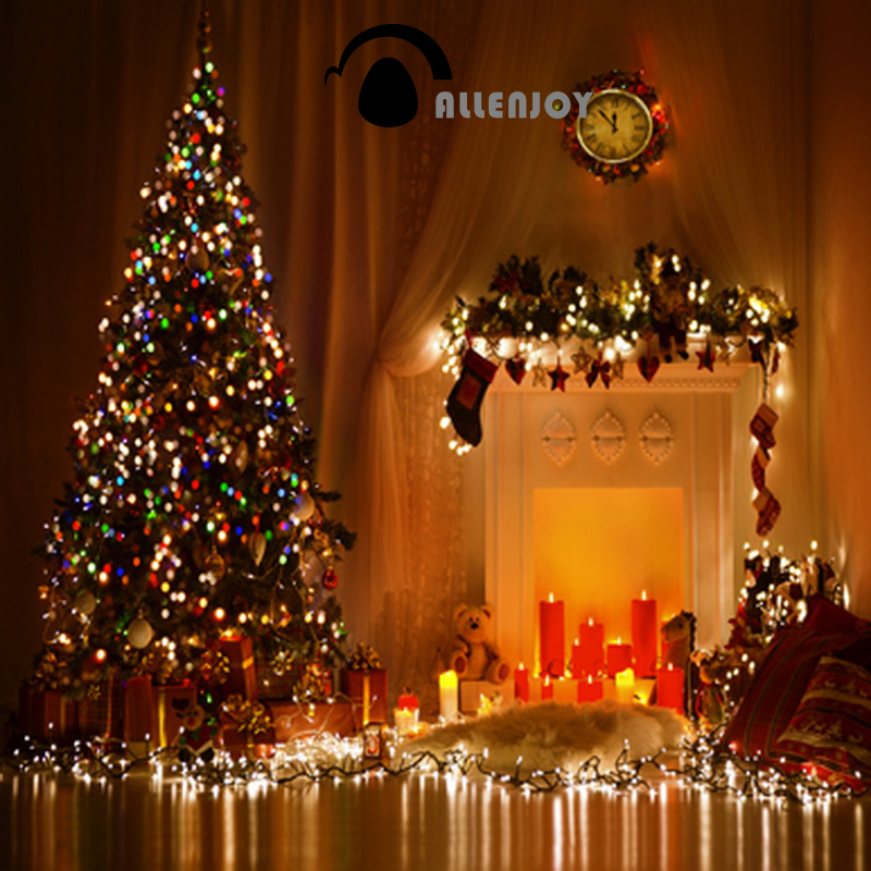 Allenjoy photo Christmas Backgrounds for Photography Light Candles Photo Studio Photography Backdrop Christmas Tree