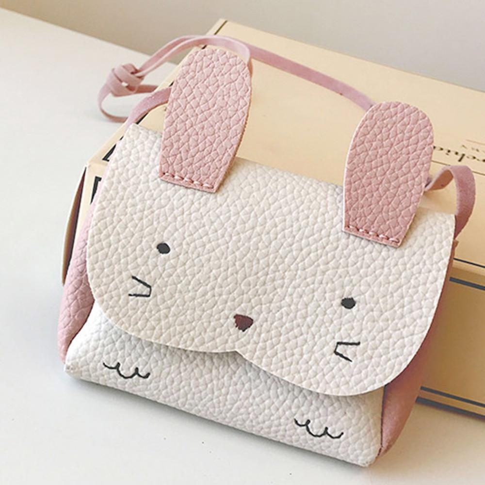 Plush Backpacks Children Small Messenger Bag PU Mini Cute Girl Kids Shoulder Handbag Crossbody Purse Money Baby Rabbit Bags 2019