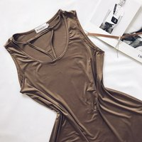 Blooming Jelly Women Sexy Deep V Neck Dress Sleeveless Hollow Out Khaki Dress Ladies Summer Casual