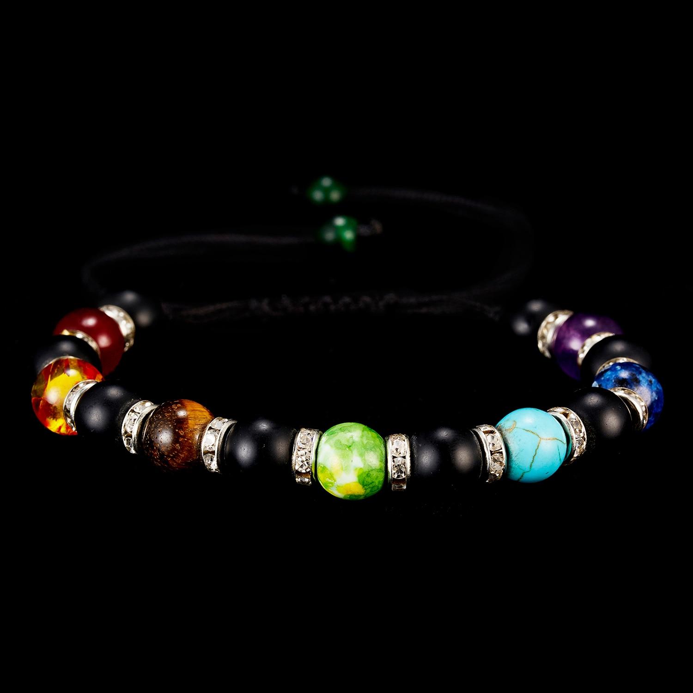 Classic Chakra 8mm Lava Stone Beads 7 Color Chain Bracelets for Women Men Elastic Rope Yoga Fashion A Bracelet Friendship 13