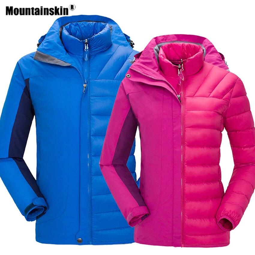 Mountainskin Men Women's 2 PCS Winter Softshell Hiking Down Jackets Outdoor Sports Thermal Windbreaker Camping Thick Coats VA517