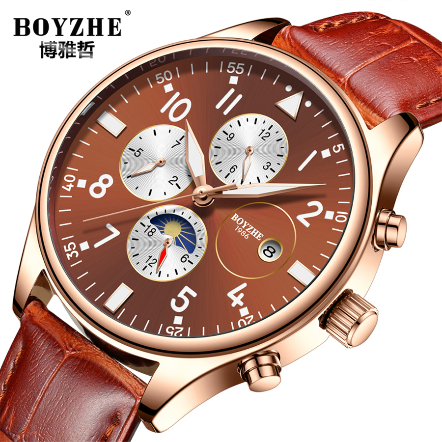 Rose Gold Case Automatic Mechanical Watch Men Genuine Leather Band Day Date Watches Modern Analog Luminous Clock 2018 New forsining date display automatic mechanical watch men business leather band watches modern gift dress classic analog clock box