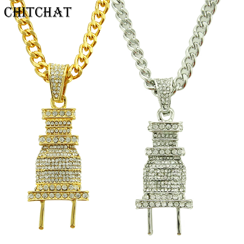 Iced Out Bling Power Plug Pendant Punk Crystal Hip Hop Cuban Chain Necklace For Man Rocker Gift