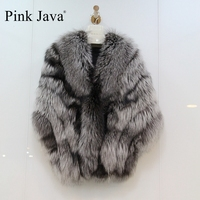 Pink Java 2017 New Women Promotion Poncho Whole Peel Silver Fox Fur Shawl Wrap Girls Fashion Gilet Hot Sale Top Direct Selling
