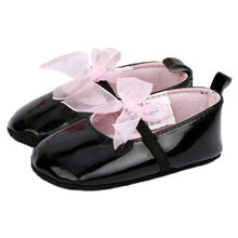 Summer&Autumn Lovely Toddler Baby Girl Soft Sole Bowknot Prewalker PU Leather Crib Black Shoes(China)