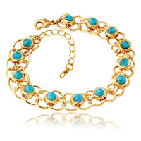 New Fashion Turquoise Bracelets Bangles For Women 18K Real Gold Plated Jewelry Bangles Turkey Stone Fashion