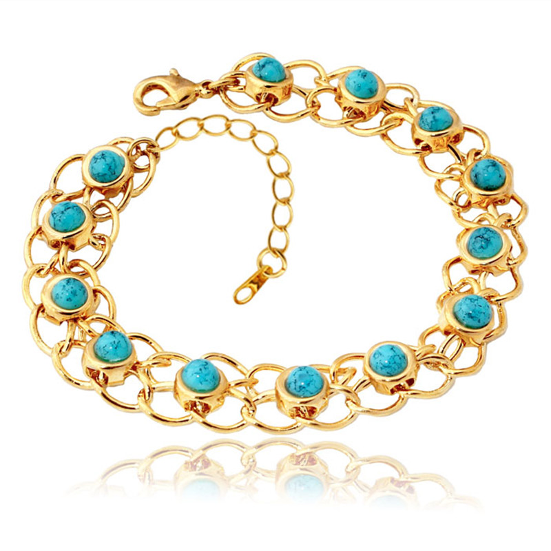Bracelets Bangles For Women Gold Color Green Turkey Stone Fashion