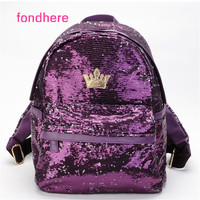 Fondhere 2017 Women Backpack Fashion Girl Sequins Backpack Female Bag High Quality Backpack For Teenage Girls