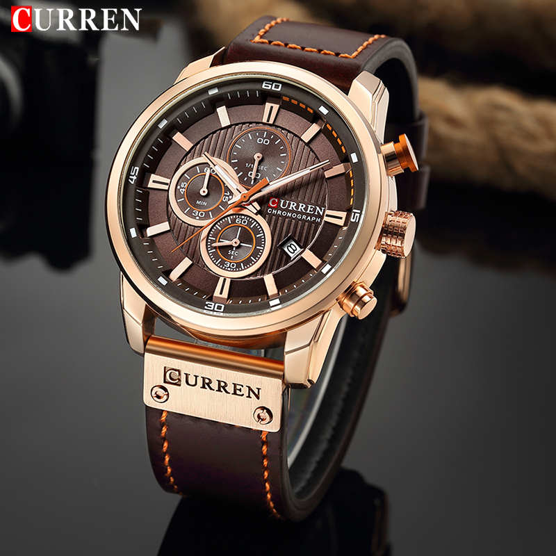 CURREN Luxury Brand Men Analog Leather Sports Watches Men's Army Military Watch Male Date Quartz Clock Relogio Masculino 2018 brand luxury men sports watches men quartz date analog clock male leather band casual military watch minifocus relogio masculino