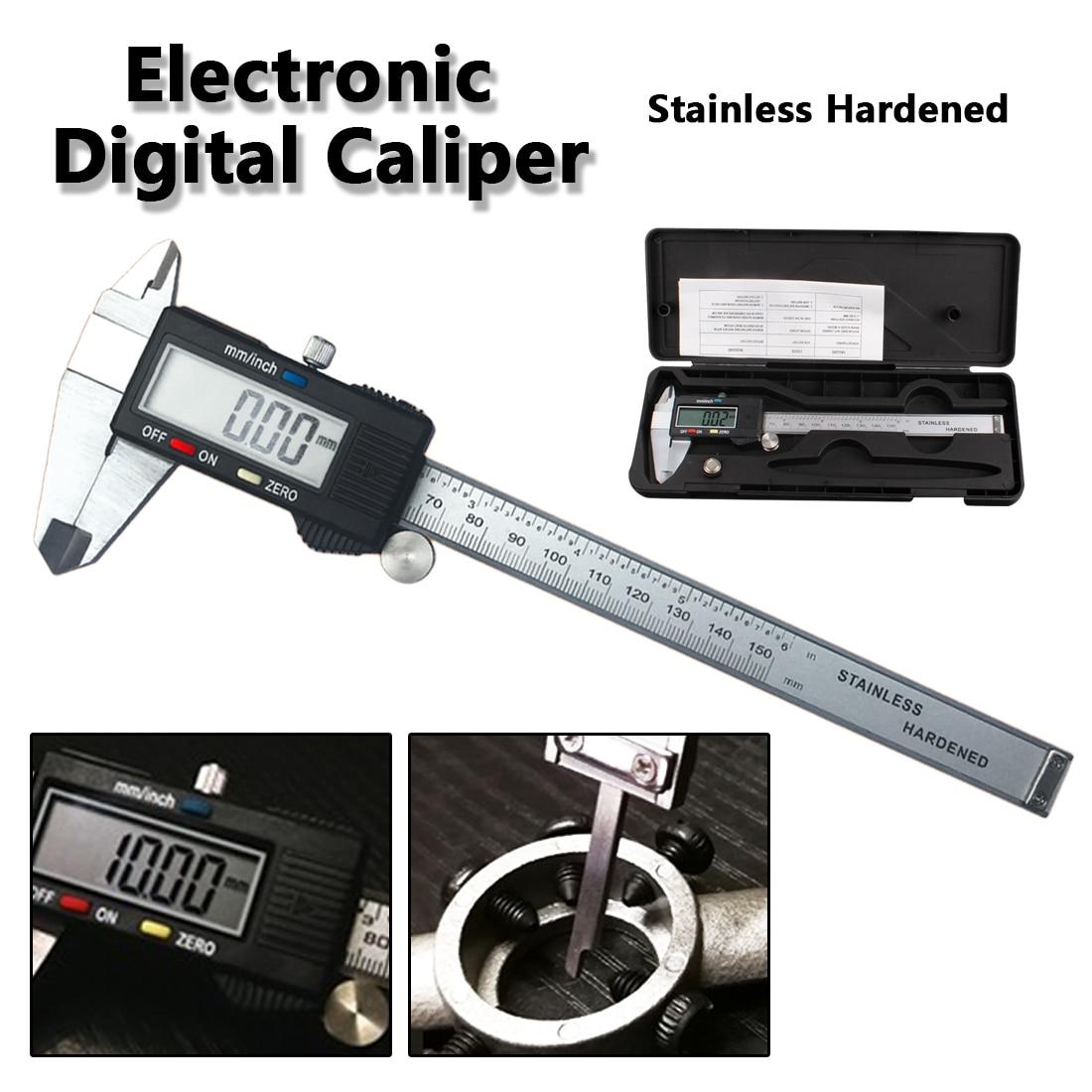Measuring Instruments Tool 6 inch /150mm Vernier Metric Digital Caliper with LCD Display Stainless Steel Electronic Depth Gauge