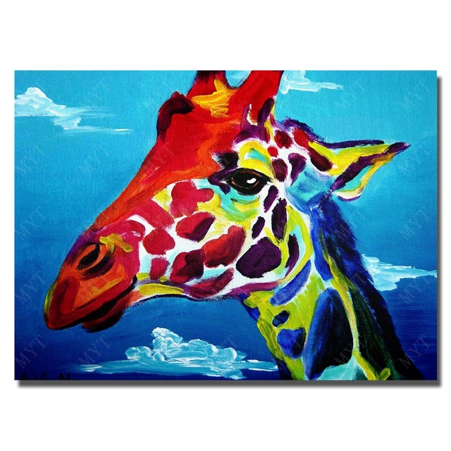 Giraffe Head Decorative For Wall Hanging Decorations Animal Head Decor Cartoon Canvas Pictures For Kids Room