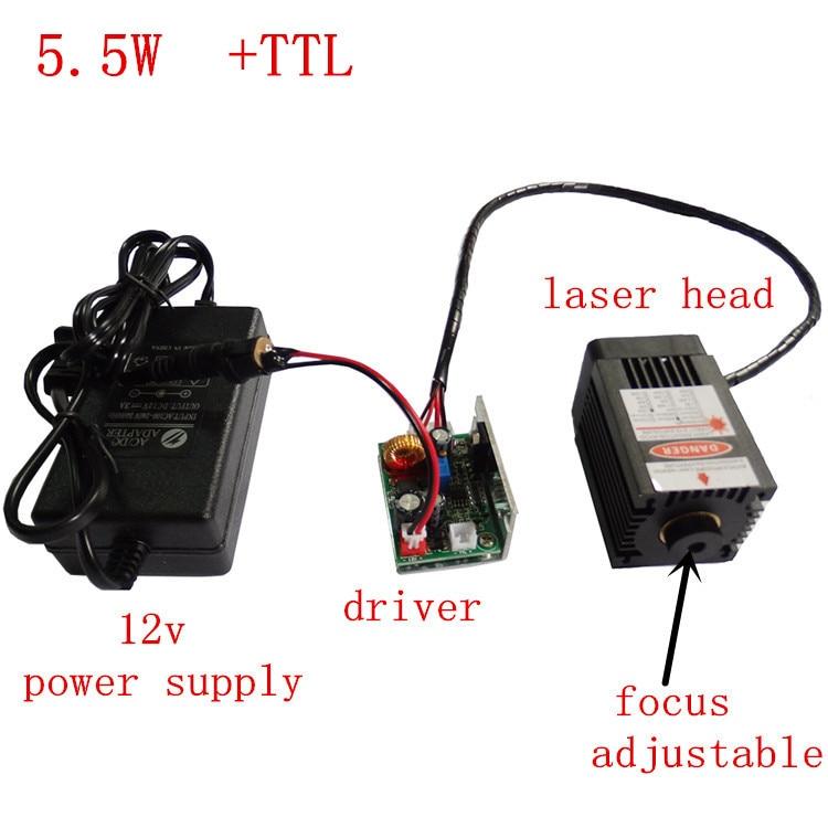 5500 mw laser machine de gravure module, grande puissance laser tête, 5.5 w laser module, 450nm 12 V bleu lumière laser moule r
