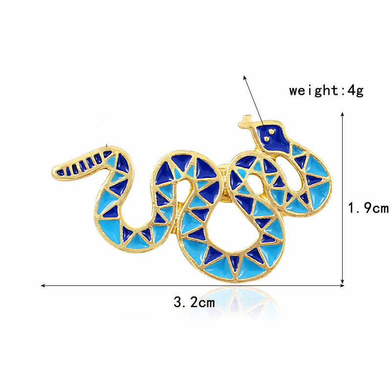 Biru Ular Bros Halus Segitiga Geometris Pola Ular Enamel Kerah Pin Mantel Kulit Lencana Hadiah Teman Punk Perhiasan
