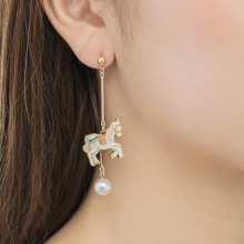 Korean carousel versatile earrings for women long tassel personality lovely cartoon T15
