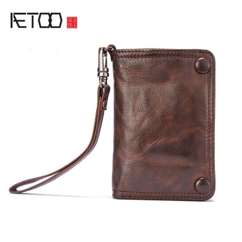 AETOO Boys handmade wallet male section vertical paragraph retro sheepskin men leather multi functional soft skin