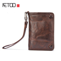 AETOO Boys Handmade Wallet Male Section Vertical Paragraph Retro Sheepskin Men Leather Multi Functional Soft Skin