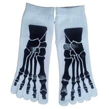 Men's 5-Toe Socks for Flip Flops Skull Skeleton Pattern White
