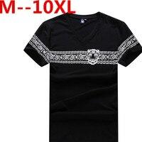 Plus rozmiar 5XL 6XL 7XL 8XL Men Basic Shirt Solidna Bawełna V szyi Slim Fit Koszule Męskie Moda Krótki Rękaw Top Tees 2017 Marki
