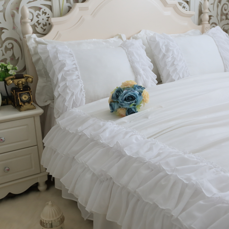 Luxury Princess White Ruffle Bed Set Girls Twin Full Queen